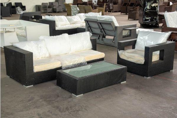 #HBM 2540: 3er Sofa mit Tisch Provence und Sessel Honolulu-schwarz