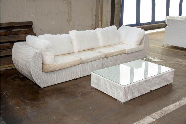 #HBM 2545: Sofa bestehend aus 2 Seitenelementen Gibraltar mit Tisch Barcelona-weiß