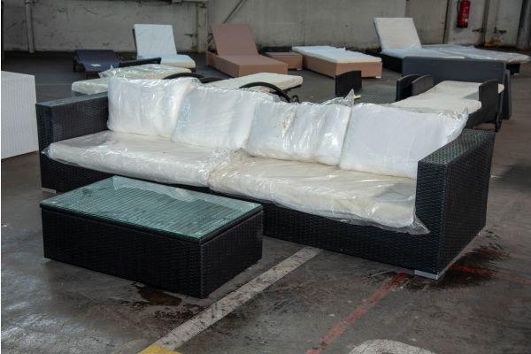 #HBM 2550: Sofa bestehend aus 2 Seitenelementen Barcelona mit Tisch Tibera-schwarz