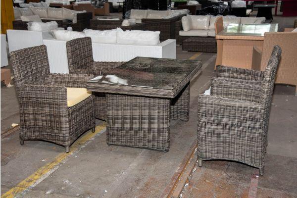#HBM 2597: 4er Set Stuhl Fontana mit Tisch La Gomera 5mm-grau-meliert