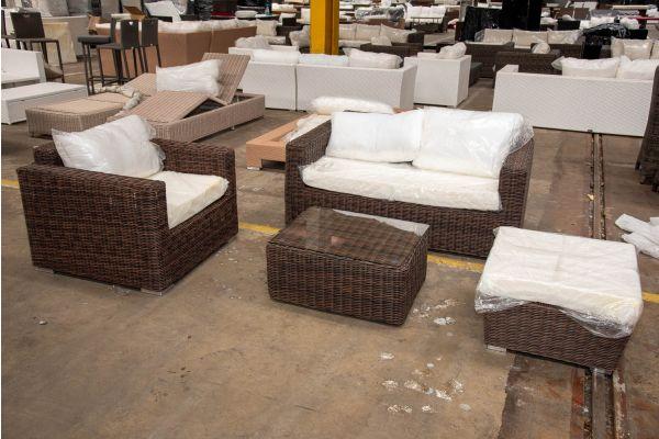 #HBM 2598: 2er Sofa und Sessel Madeira mit Hocker Mandal und Tisch Marbella 5mm-braun-meliert
