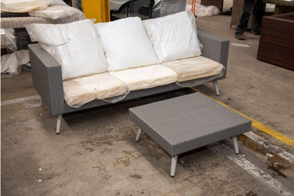 #HBM 2501: XL Sofa Molde mit Fußhocker-grau