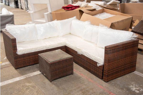 #HBM 2457: Garnitur Genero mit Tisch Maui-braun-meliert
