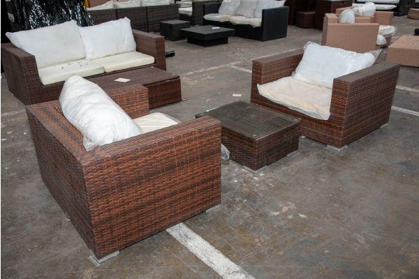 #HBM 2522: 2er Set Sessel Barcelona mit Tisch 71x54x29-braun-meliert