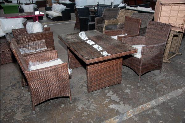 #HBM 2523: 4er Set Stuhl Julia mit Tisch Fisolo-braun-meliert