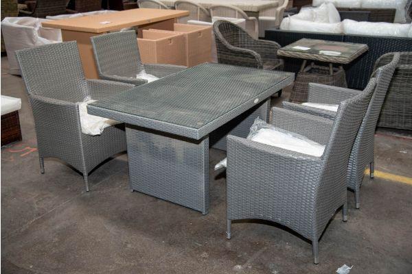 #HBM 2619: 4er Set Stuhl Julia mit Tisch Fisolo-grau