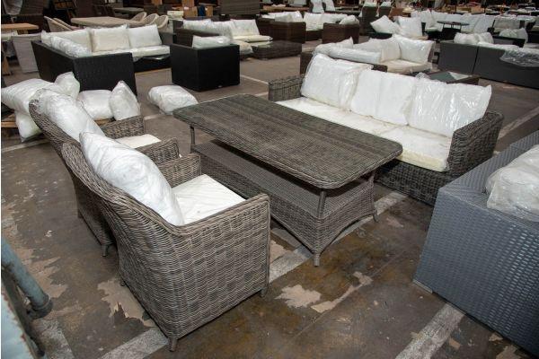 #HBM 2640: 3er Sofa Sorano mit 2er Set Sessel Sandnes mit Tisch Pandora 160-grau-meliert