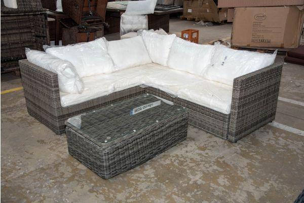 #HBM 2659: Garnitur Genero mit Tisch Tibera 5mm-grau-meliert