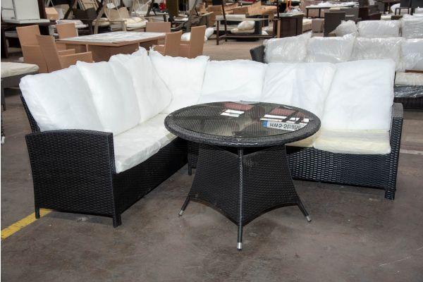 #HBM 2656: Garnitur Bermeo mit Tisch Sanremo-schwarz