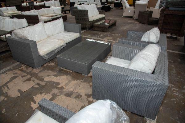 #HBM 2661: 2er Sofa bestehend aus 2 Eckelementen mit 2er Set Sessel und Tisch Barcelona-grau