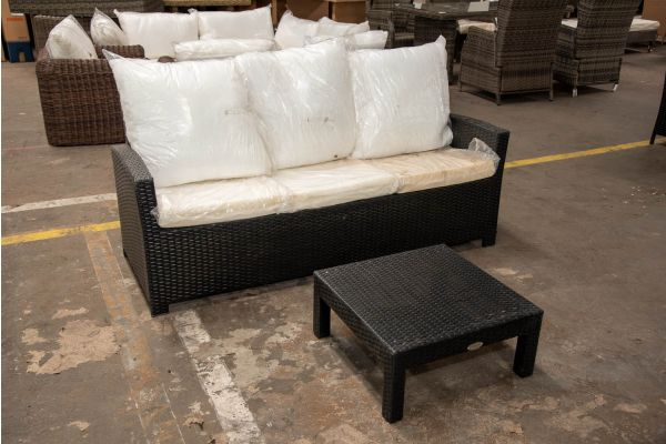 #HBM 2654: 3er Sofa Fisolo mit Hocker Fiji als Tisch-schwarz
