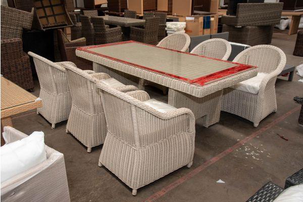 #HBM 2628: 6er Set Sessel Stavanger mit Tisch Sandnes 220 5mm-perlweiß