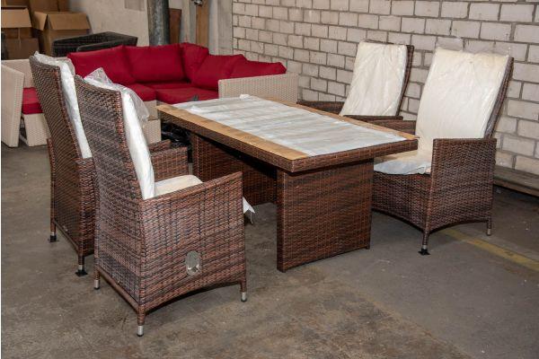 #HBM 2639: 4er Set Stuhl Sevilla mit Tisch Fisolo-braun-meliert