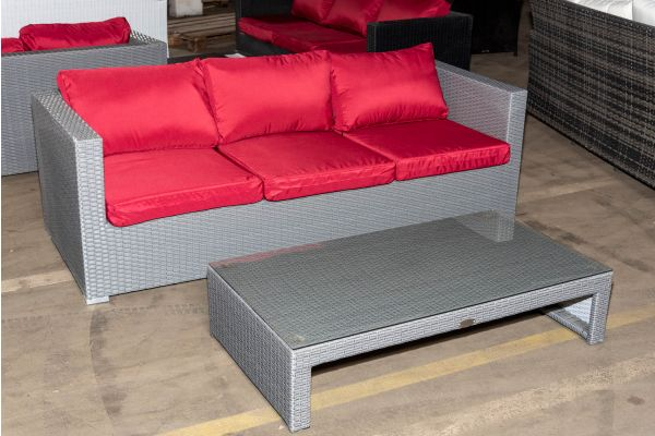 #HBM 1290: 3er Sofa Liberi mit Tisch Casablanca-grau-rubinrot