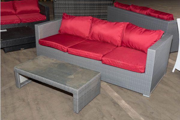 #HBM 1291: 3er Sofa Liberi mit Tisch Malolo-grau-rubinrot