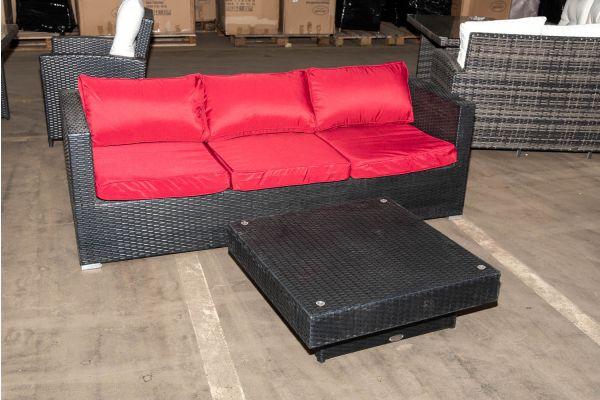 #HBM 997: 3er Sofa Liberi mit Tisch Tunis-schwarz-rubinrot