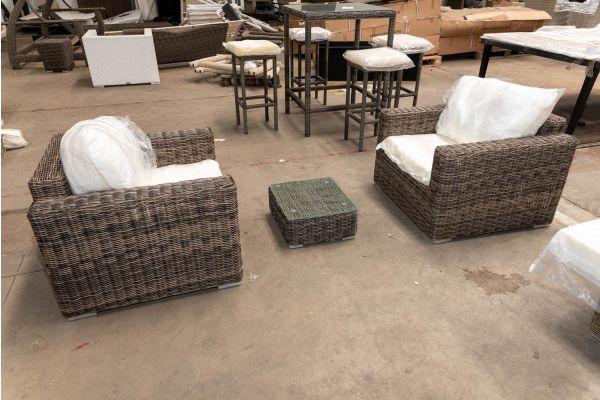 #HBM 2676: 2er Set Sessel Madeira mit Beistelltisch 49x44x21 5mm-grau-meliert