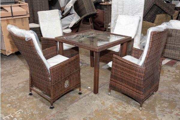 #HBM 2673: 4er Set Stuhl Sevilla mit Tisch Rio-braun-meliert