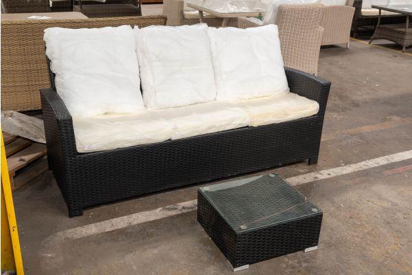 #HBM 2684: 3er Sofa Fisolo mit Beistelltisch Nadi-schwarz