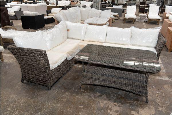 #HBM 2689: Garnitur Santa Lucia mit Tisch Pandora 130x80 5mm-grau-meliert