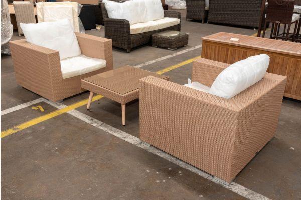 #HBM 2685: 2er Set Sessel Casablanca mit Hocker Molde als Tisch-sand