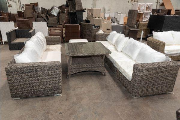 #HBM 2691: Sitzgruppe Ariano mit Tisch Pandora 100x100 5mm-grau-meliert