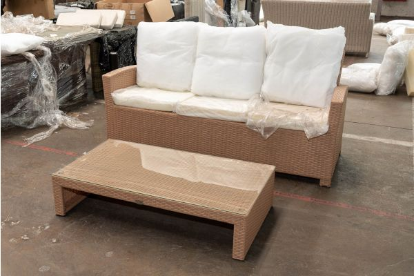#HBM 2641: 3er Sofa Fisolo mit Couchtisch Casablanca-sand
