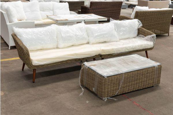 #HBM 2666: Sofa bestehend aus 2 Seitenelementen Skara mit Tisch Tessera 5mm-natura