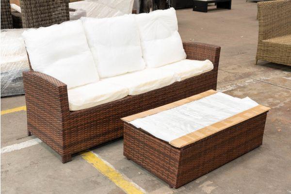 #HBM 2635: 3er Sofa Fisolo mit Tisch Tibera-braun-meliert