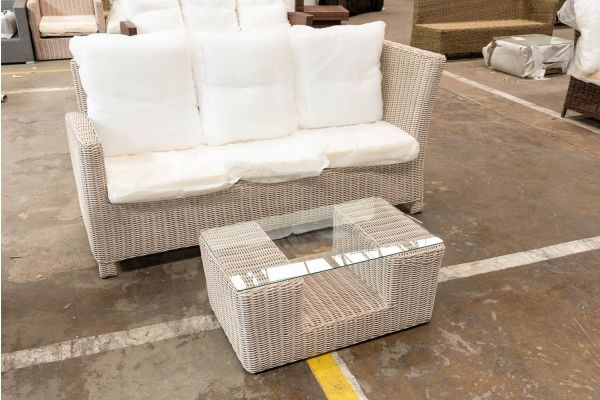 #HBM 2709: 3er Sofa Bermeo mit Tisch Moss 5mm-perlweiß