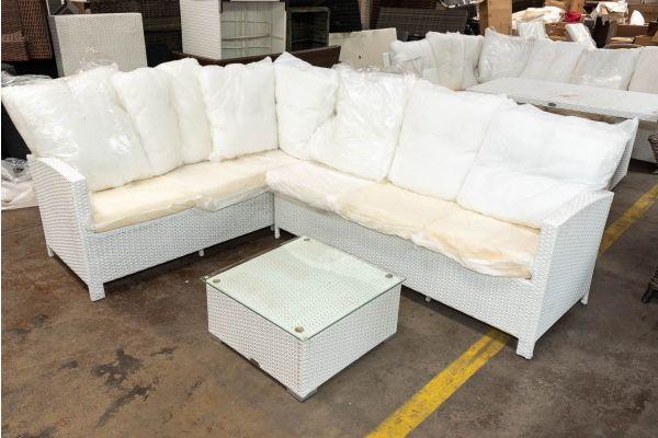 #HBM 2631: Garnitur Bermeo mit Tisch Terra-weiß