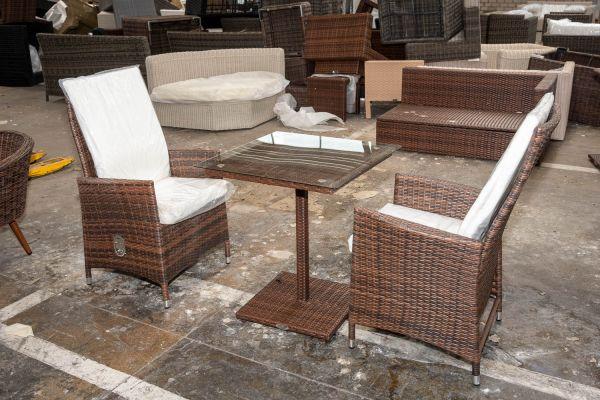 #HBM 2747: 2er Set Stuhl Sevilla mit Tisch Palermo-braun-meliert