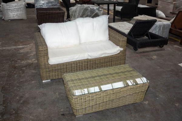 #HBM 2746: 2er Sofa Madeira mit Tisch Mandal 5mm-natura