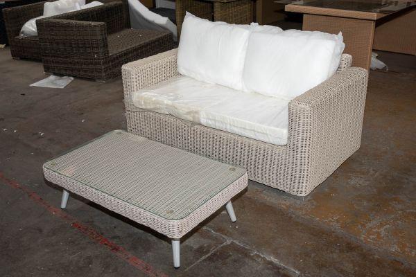 #HBM 2733: 2er Sofa Madeira mit Tisch Trosa 5mm-perlweiß