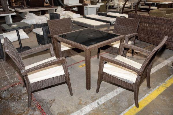 #HBM 2725: 4er Set Lounger Miami mit Tisch Bali-braun-meliert-cremeweiß