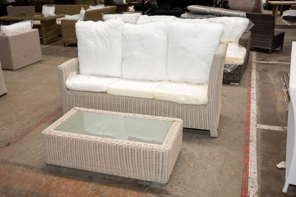 #HBM 2742: 3er Sofa Bermeo mit Tisch Provence 5mm-perlweiß