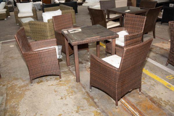 #HBM 2734: 4er Set Stuhl Julia mit Tisch Bari-braun-meliert