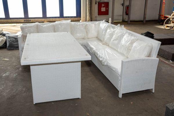#HBM 2759: Garnitur Vicenta mit Tisch Avignon-weiß
