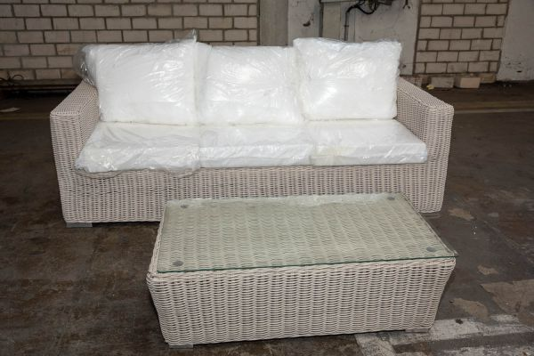 #HBM 2755: 3er Sofa Madeira mit Tisch Mandal 5mm-perlweiß