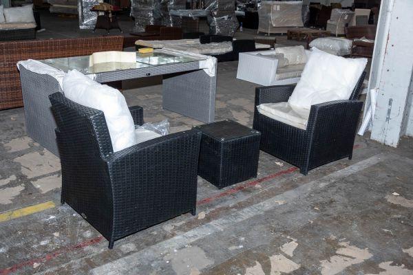#HBM 2757: 2er Set Sessel Fisolo mit Beistelltisch Tunis-schwarz