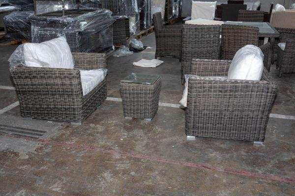 #HBM 2785: 2 x Sessel Mandal + Beistelltisch Mandal 5mm-grau-meliert
