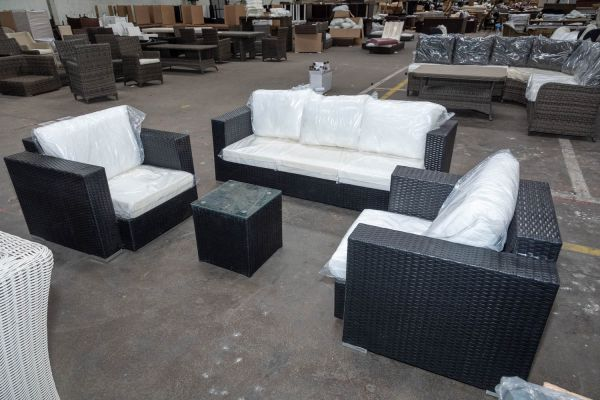 #HBM 2525: 2x Sessel & 3er Sofa Provence + Tisch 39x39-schwarz