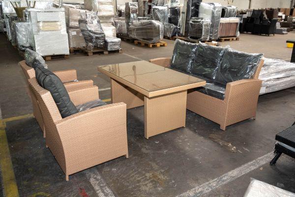 #HBM 2761: 3er Sofa + 2x Sessel Fisolo + Tisch Fisolo-sand-anthrazit