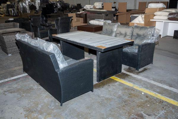 #HBM 2790: Tisch Avignon 180 + 2x Sofa Fisolo-schwarz-anthrazit