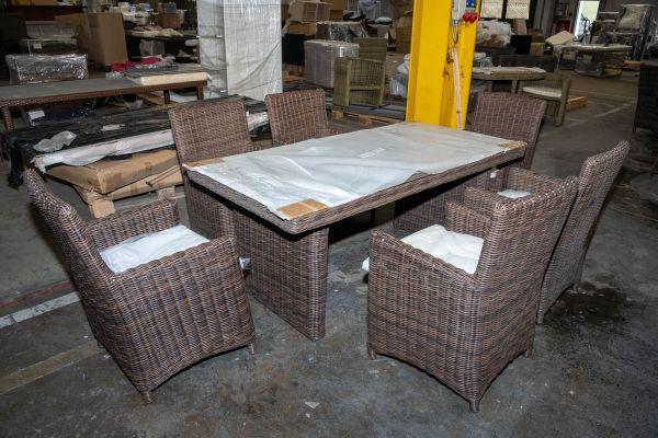 #HBM 2792: Tisch Fontana 180 + 6x Stuhl Fontana-braun-meliert