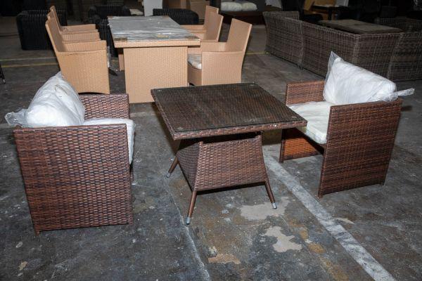 #HBM 2798: Tisch Sierra + 2x Sessel Maui-braun-meliert