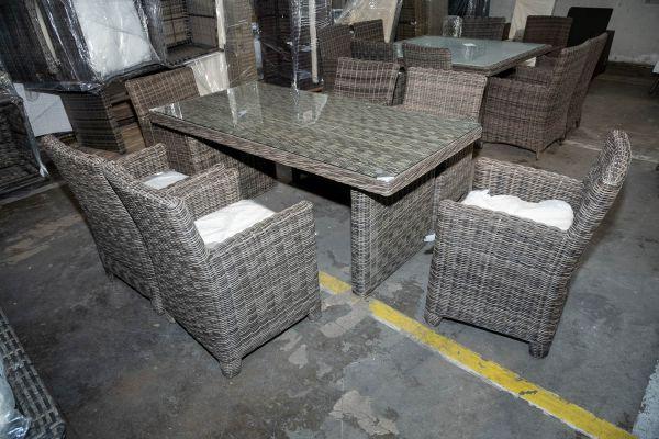 #HBM 2803: Tisch Fontana + 6 x Stuhl St. Augustin-grau-meliert