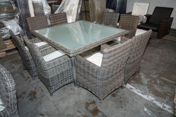 #HBM 2804: Tisch St. Augustin + 8 x Stuhl Fontana-grau-meliert