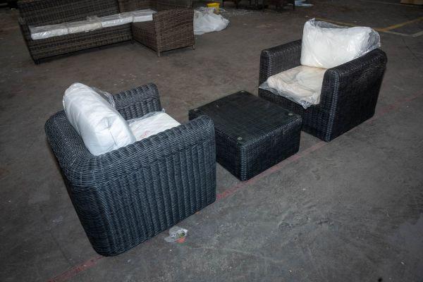 #HBM 2874: 2x Sessel + Tisch Marbella-schwarz