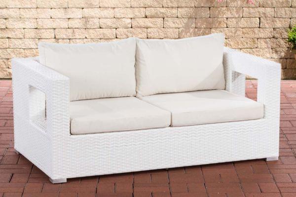2er Sofa Honolulu Flachrattan weiß